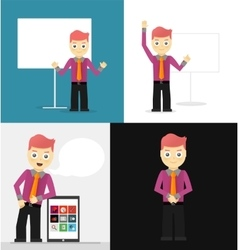 Poses of young businessmen presentation white vector