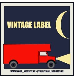 Overnight delivery van vintage label vector