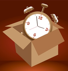 Alarm clock in box vector