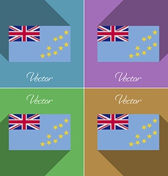 Flags tuvalu set of colors flat design and long vector