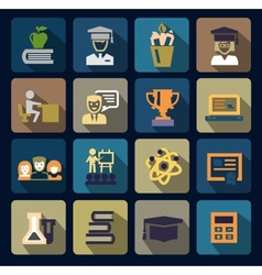 Color school and education icons set vector