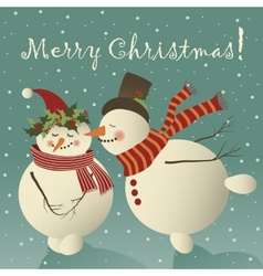 Two cute snowman in love vector