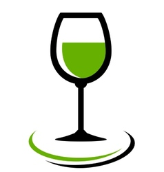 White wine glass icon vector