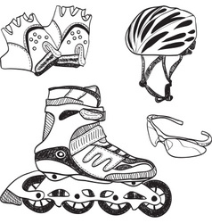Roller skating equipment vector