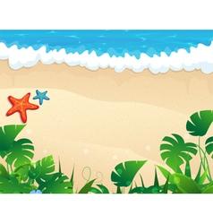 Tropical beach with tropical vegetation vector