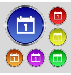 Calendar sign icon 1 day month symbol date button vector