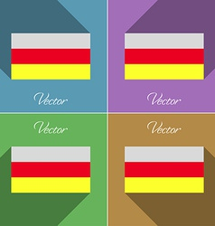 Flags north ossetia set of colors flat design and vector