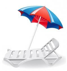 Umbrella sunshade and deckchair vector