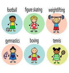 Set cartoon athletes vector