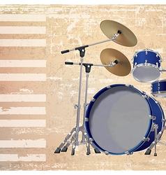 Abstract beige grunge background with drum kit vector