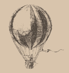 Engravings airship balloon style hand drawn vector