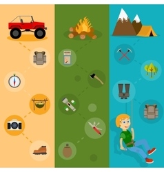 Camping banners vertical set vector