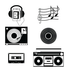 Music players and components vol 1 in black-white vector