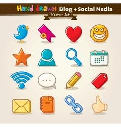 Hand draw blog and social media icon set vector