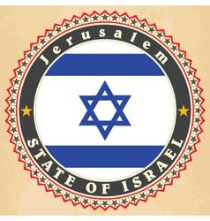 Vintage label cards of israel flag vector