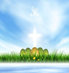 Spring landscape easter eggs vector