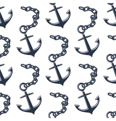 Vintage anchors with chains seamless pattern vector