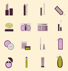 Set of cosmetic nude tone icons vector