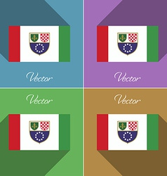 Flags bosnia and herzegovina federation set of vector