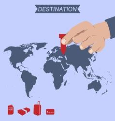 Destination pin on world map vector