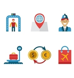 Airport icons flat set vector