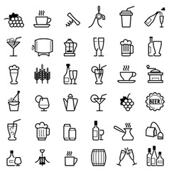 Beverages line icons vector