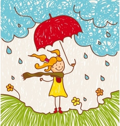 Girl with red umbrella vector