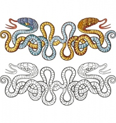 Snakes tattoo design vector