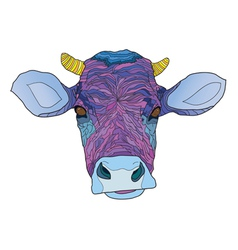 Head of the psychedelic cow vector