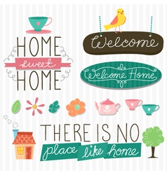 Home sweet home design elements vector