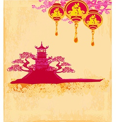 Decorative chinese landscape card vector
