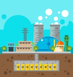 Nuclear plant and nuclear waste underground flat d vector