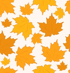 Autumnal maple leaves seamless background - vector