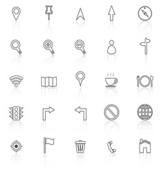 Map line icons with reflect on white background vector