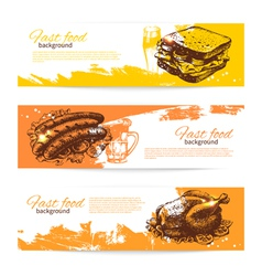 Hand drawn vintage fast food banners vector
