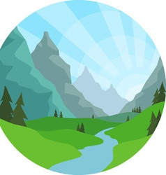 Mountain view background vector