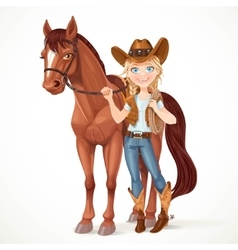 Teen girl dressed as a cowboy holds the reins vector