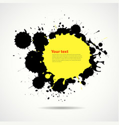 Yellow and black ink add text your space vector