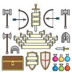 Fantasy symbols and scrolls vector