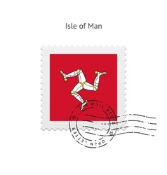Isle of man flag postage stamp vector