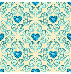 Ornate seamless pattern with diamond hearts vector