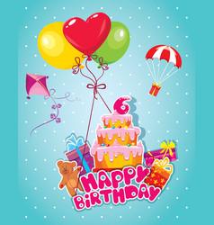 Happy birthday 6year 380 vector