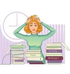 Businesswoman is under stress with lot of paper vector