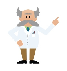 Cartoon professor with moustache vector