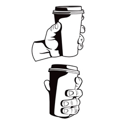 Hand with paper coffee cup vector