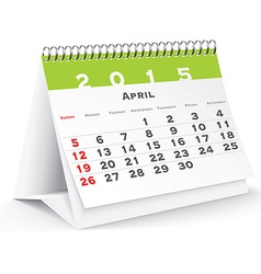 April 2015 desk calendar - vector