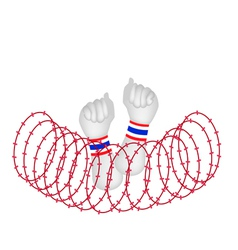 Human hand clenched fist after wire barrier vector