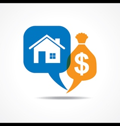 Home and dollar symbol in message bubble vector