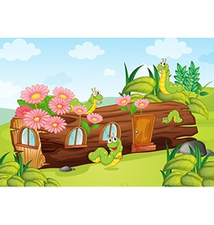 A caterpillar and a wood house vector