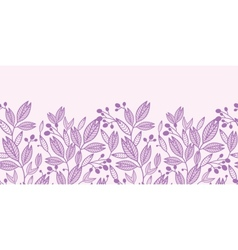 Striped leaves and berries horizontal seamless vector